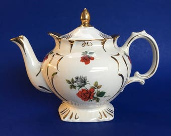 4 Cup Antique Price Kensington Off White and Red Roses Teapot England