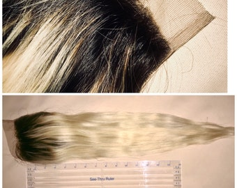 100% Human Hair Lace Closure, 20 Inch Brazilian Ombre 1b/613 4X4 Free Part Closure with Baby Hairs
