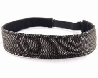 Adjustable non-slip Headband hairband made with vintage, black kimono silk with golden sparkles