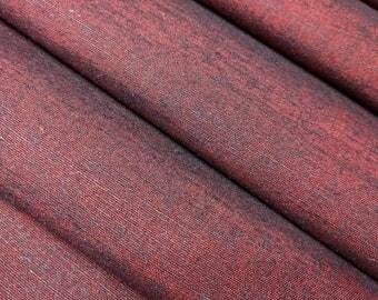 Red and black Tsumugi shot silk - by the yard