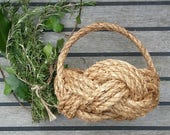Rustic Flower Girl Basket, Bridesmaid,Spring Summer Wedding, Natural Rope Knot Bowl with Handle. Nautical Knot Planter.