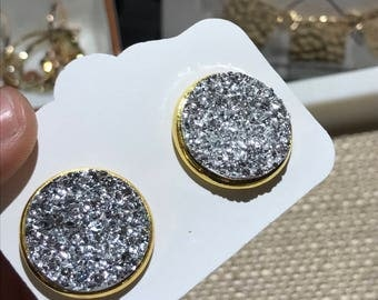 Large Druzy Studs | Party Earrings | Evening Earrings | Druzy stud earrings