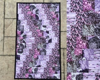 "Table runnner quilted bargello table topper dresser scarf table decor 15.5"" x 27"" table linen  reversible"