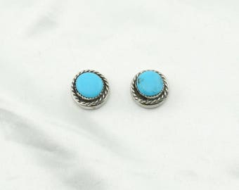 Set of Two Collectable Southwest Navajo Native American Turquoise and Sterling Silver Button Covers  #2TURQ-UV3