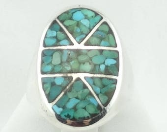 Vintage Sterling Silver Crushed Turquoise Inlay Ring Southwest Native American FREE SHIPPING! #CRUSHED2-MS