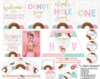 Donut Grown Up Party Package & Donut Grow Up Birthday Invitation Donut 1st Birthday Party Invite Donut Birthday Party Package Doughnut Party