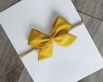 Baby nylon headband, mustard sailor bow,  mustard bow, fall bow,  yellow mustard bow