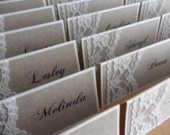 100 RUSTIC Vintage Lace Place Cards - Great for all occasions - Weddings | Engagements | Christenings
