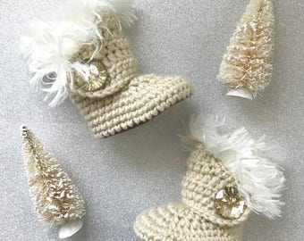 Uggs for Babies, Gold Leather Infant Boots, White Fur Ugg Booties, Oatmeal Walkers, Cream Crochet Newborn Girl Shoes, Winter Baby Clothes