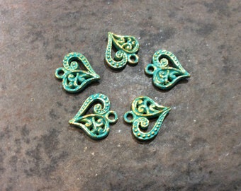CLEARANCE Filigree Heart Charms package of 5 with antique gold verdigris patina finish Double Sided heart charms scroll pattern