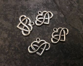 Infinity symbol Heart charms in antique silver finish perfect for adjustable bangles and jewelry making Package of 4 charms