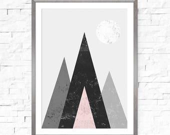 Mountain wall art, Abstract download, Printable abstract art, Mountain print, Digital download, Home deco wall art, Geometric printable