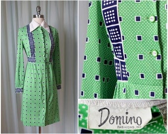 vintage 1970s Domino green polka dot dress | medium | vint 70s graphic print square dress | long sleeve button down dress | shirt dress