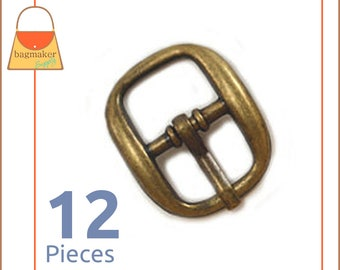 "Small 1/2 Inch Square Buckles, Anique Brass / Bronze Finish, 12 Pieces, Handbag Purse Bag Making Hardware Supplies, 1/2"", .5 Inch  BKS-AA082"