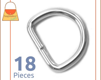 "3/4 Inch D Rings, Nickel Finish, 18 Pieces, Purse Handbag Bag Making Hardware Supplies, .75 Inch, 3/4"", .75"", RNG-AA019"