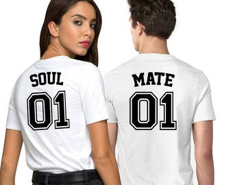 Soul Mate 01, Couples shirts, Jersey shirts, Gifts for couples, Personalised gifts, Gift for her, Gift for him, Iron on numbers