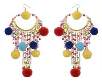 Over-Sized Multi-Coloured Pom Pom Festival Earrings
