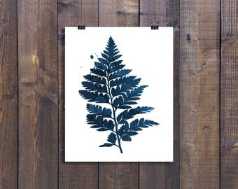 Fern Picture, Navy, Watercolor Prints, Water Color Pictures, Printable, Silhouette Pictures, Nursery, Forest, Small, Wall Art, Wall Decor