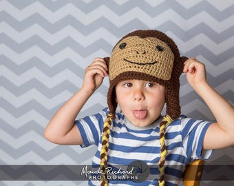 Crocheted brown monkey hat, knitted chimp beanie, funny animal cap for kids teens and adults
