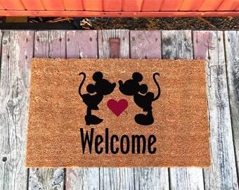 2 Sizes - Mickey and Minnie Disney Welcome - Coir Door Mat - Doormat - 18 x 30 and 24 x 31.5 - Welcome Mat - Housewarming Gift