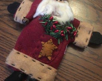 Vintage Hand-Made Felt Santa Ornament, Christmas Ornament, Santa Claus M1016