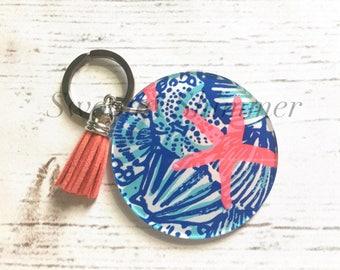 Starfish Acrylic Blanks, 2.5 Inch Circles 1 Hole, tassel Keychain blanks, blank acrylics, circle keychains, monogram keychain, coral blue
