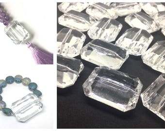 XL Crystal Clear Big Acrylic beads, Tassel Pendants, Bracelet Beads, Large Clear Beads, Big Beads, Bangle Beads, Wire Bangle, Beaded Jewelry
