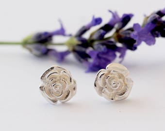 Silver Rose Earrings, rose studs, flower earrings, silver earrings, Uk seller
