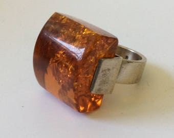 Vintage Modernist Sterling Silver and Amber Ring