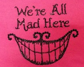 Handmade tote bag - Cheshire Cat , we're all mad here