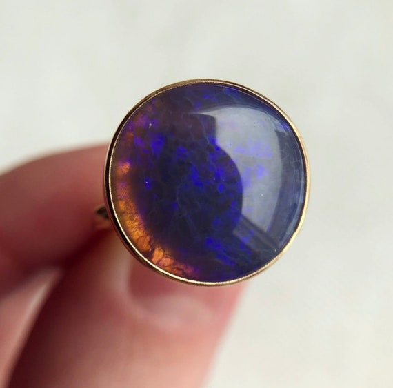 14K yellow gold ring with Australian crystal opal SZ 6