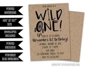 Wild One Birthday Invitation - 1st Birthday Invitation - Tribal Feather Dreamcatcher - Kraft - Rustic - Wild 1 Invitation - Boy 1st Birthday