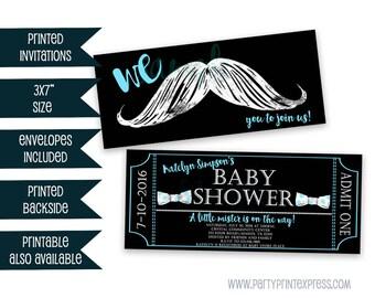 Mustache Baby Shower Invitations - Little Man Baby Shower Invitation - Mustache Invites  - Bowtie Little Man Baby Shower Invite - Black Blue