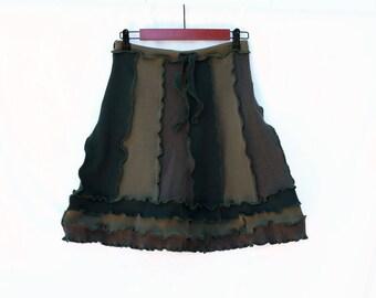 Olive Green Upcycled T-shirt Skirt