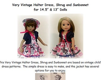 "Very Vintage Halter Dress & Jacket Pattern for 14"" and 13"" dolls"