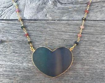 Fluorite Heart Necklace // Heart Necklace // Fluorite Necklace //Crystal Heart Necklace //