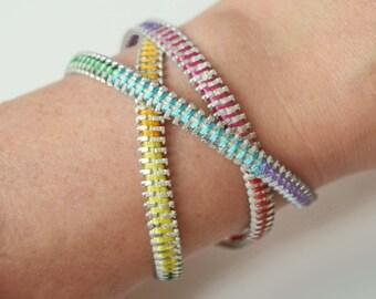 Rainbow wrap zipper bracelet - unicorn jewellery - pride wristband - brite zip accessory -  worldwide delivery - bangle