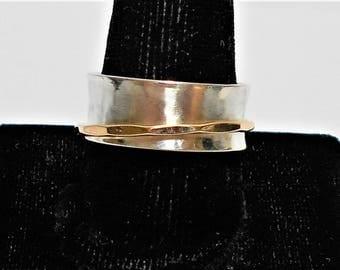 Spinner Ring,  Silver Spinner Ring, Sterling Silver Spinner Ring, Sterling Silver and Gold Spinner Ring