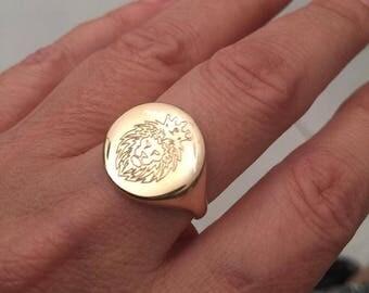 Lion Ring, Engraved ring, Personalized Ring, Signet Ring, women ring, men ring, Initial ring, Gift for women, letter Ring, Pinky ring