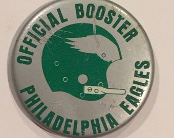 Vintage 1967 Philadelphia Eagles Official Booster pin pinback by Heinz Co - Antique Football Memorabilia