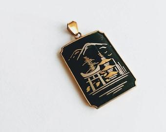 Vintage Amita Japan Damascene inlay pendant