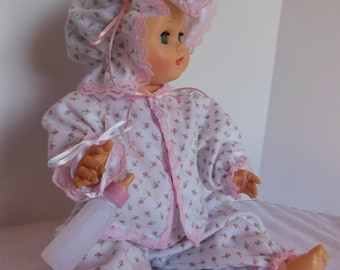 "Pink Rosebud Print Pajamas for 17"" Sun Rubber Bottle Baby Dolls"