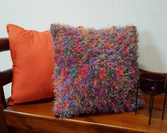 Multicoloured cushion, knitted pillow, fluffy pillow, handmade cushion, handknits, unique knits
