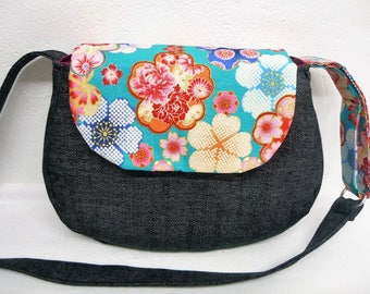 Turquoise flowers Japanese fabric shoulder bag