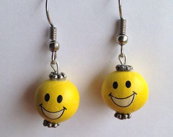 Smiley Emoji happy face yellow wooden Beaded Dangle Earrings, silver plated hypoallergenic fish hooks beads