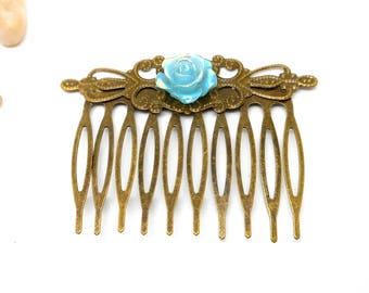 Hair accessory flower bronze green charms and co.