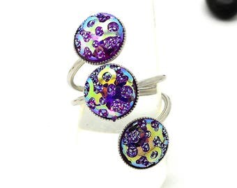 triple purple cabochons with Rhinestone ring