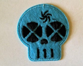 1 Blue Skull Face Button  - #SP-00022