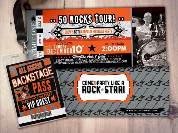 Rock star concert ticket birthday party invitation music invitation il570xn filmwisefo