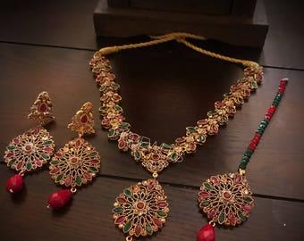 Ruby & emrald Green  set hqjewels Pakistani / Indian Jewelry